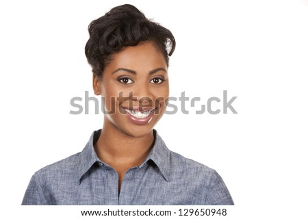 pretty dark woman wearing casual outfit on white background - stock photo