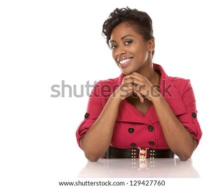 pretty dark woman wearing red dress on white background - stock photo