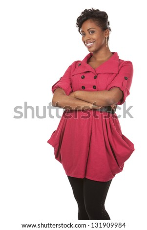 pretty dark woman wearing red dress on white background