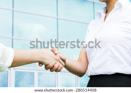 pretty diverse young business woman team at office building  - stock photo