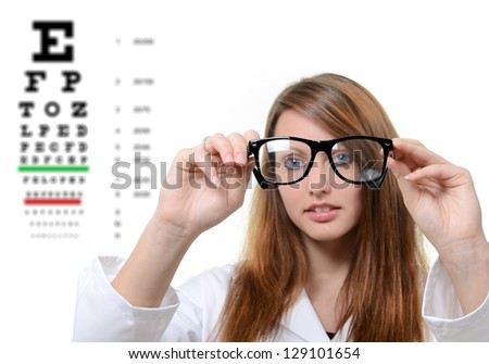 Pretty doctor with glasses - stock photo