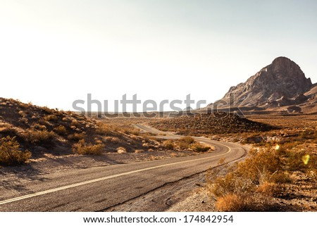Pretty Empty Mojave Desert Highway in Southern California, USA. - stock photo