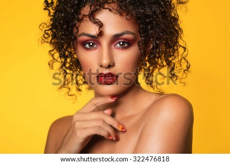 Pretty Ethnic Woman With High End Make Up - stock photo