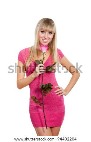 pretty excited woman happy smile, young girl wear pink dress hold rose, isolated over white background