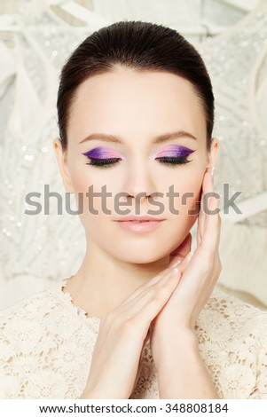 Pretty Face. Fashion Woman with Bright Make-up - stock photo