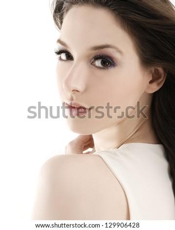 Pretty face of beautiful woman - close-up - stock photo