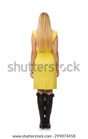 Pretty fair girl in yellow dress isolated on white - stock photo
