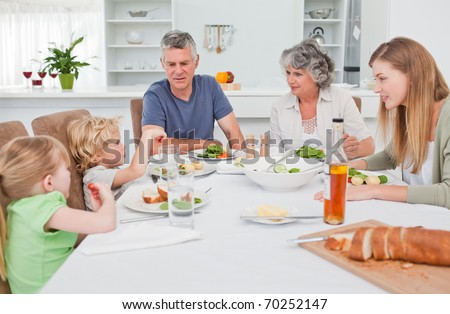 Pretty family at the table together