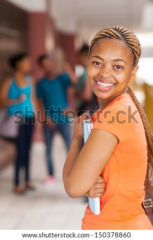 pretty female  afro american university student - stock photo