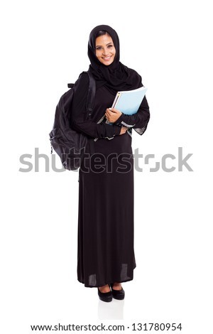 pretty female arabian university student full length isolated on white - stock photo