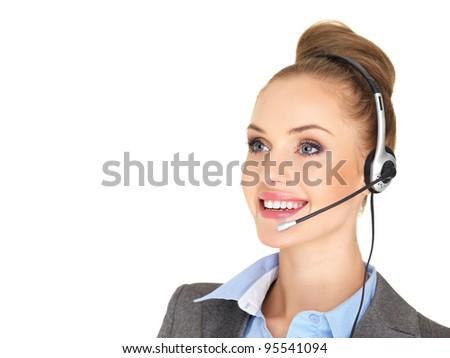 Pretty female businesswoman talking headset - stock photo
