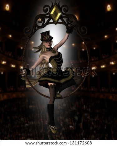 Pretty female circus diva sitting in a jeweled circus hoop with audience behind her and backlit dressed in a Steampunk outfit and hat. - stock photo