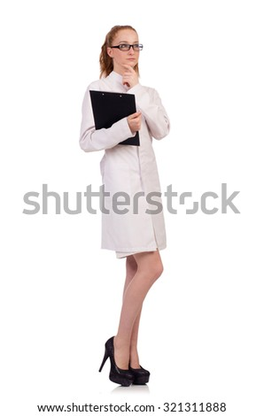 Pretty female doctor holding diary isolated on white - stock photo
