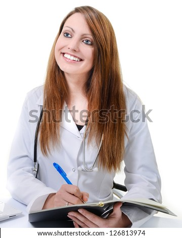Pretty female doctor isolated writing on schedule