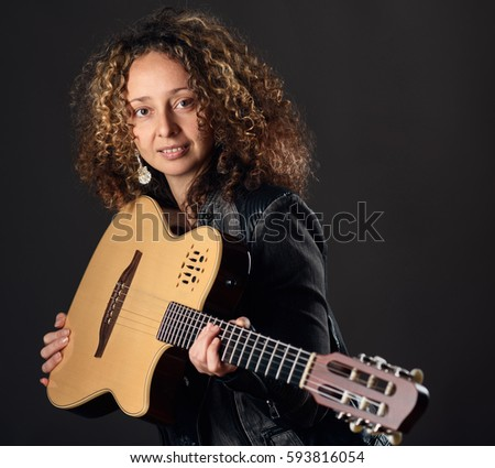 beautiful italian girl kissing guitar stock photo 70157476 shutterstock. Black Bedroom Furniture Sets. Home Design Ideas