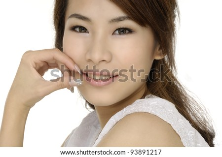pretty female model smiling ,isolated