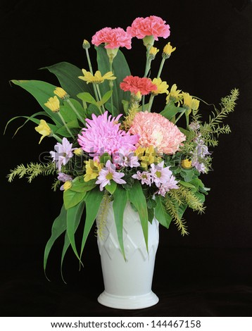Pretty flower decorated in vase isolated with work path