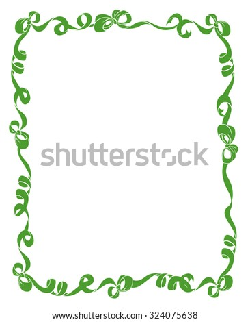 Pretty frame or border of green curled ribbons and bows isolated on white