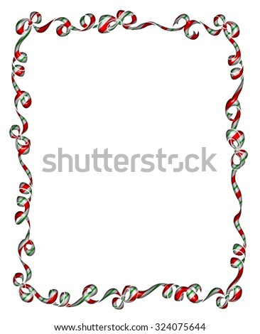 Pretty frame or border of red and green striped Christmas ribbons and bows isolated on white
