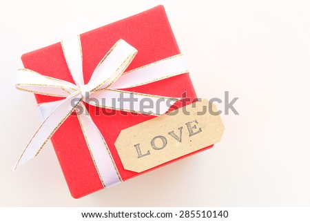 pretty gift box with love alphabet