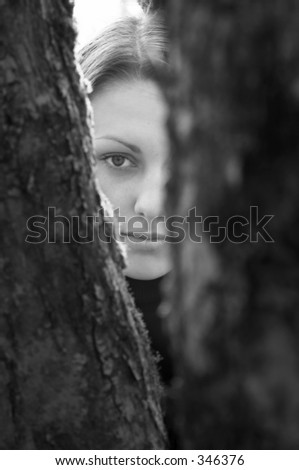 Pretty girl and trees