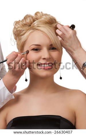 Pretty Girl Being Pampered Before The Prom - stock photo