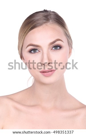 Pretty girl Blonde hair, looking at camera and smiling, a model with light nude make-up, white studio background, beauty photo, close up.