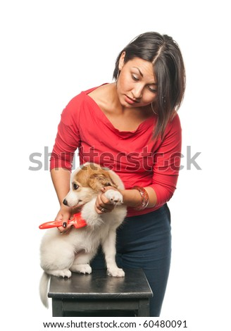 Pretty girl combs her dog