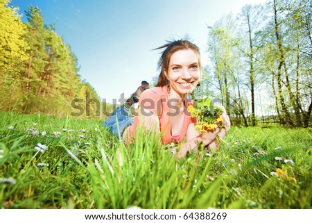 pretty girl having fun in field