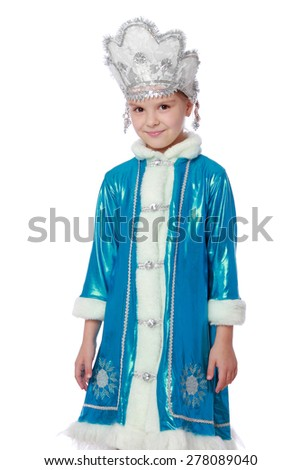 Pretty girl in a snow maiden dress