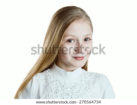 Pretty girl in a white blouse with freckles and a long blonde hair looks and smiles. Close-up portrait on isolated white background. - stock photo