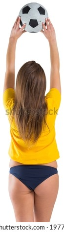 Pretty girl in bikini and brasil tshirt on white background - stock photo