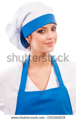 pretty girl in clothes cook, isolated background