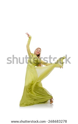 Pretty girl in elegant green dress isolated on white - stock photo