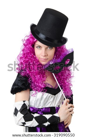 Pretty girl in jester costume isolated on white - stock photo