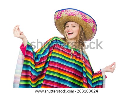 Pretty girl in mexican poncho isolated on white - stock photo