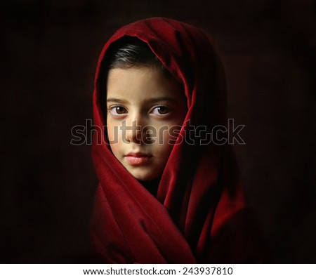 Pretty girl in red, photo is imitating art from the past. - stock photo