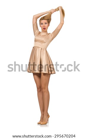 Pretty girl in satin mini dress isolated on white - stock photo