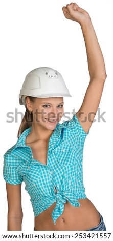 Pretty girl in shirt and white helmet happily raised his hand up. Isolated over white background
