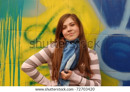 Pretty girl in the subway underground passage. Kiev,Ukraine