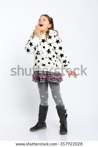 pretty girl in winter clothes - stock photo