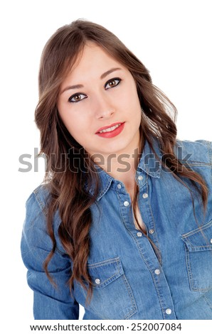 Pretty girl make up with brown eyes isolated on a white background - stock photo