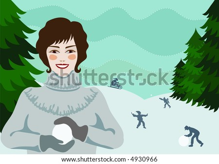 Pretty girl making a snowball, with snowball-fighting people in the background - stock photo