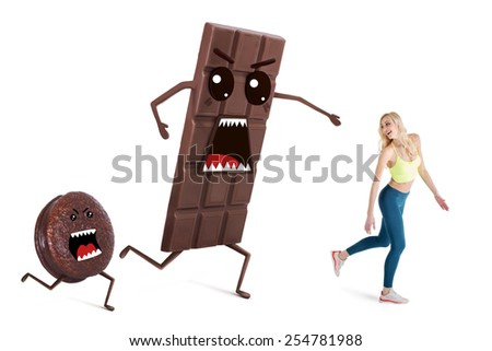 Pretty girl on a diet  controls her weight. Concept running away from temptations like chocolate and sweets - stock photo