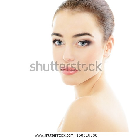Pretty girl portrait, young beautiful woman with clean skin, healthcare and body care