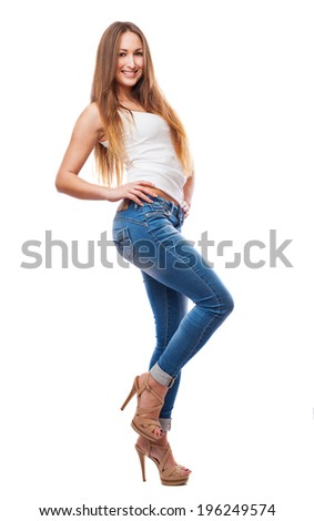 pretty girl posing isolated on a white background - stock photo