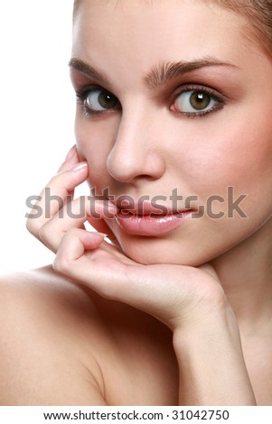 Pretty girl's portrait with a hand - stock photo