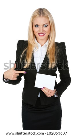 Pretty girl shows a blank white card