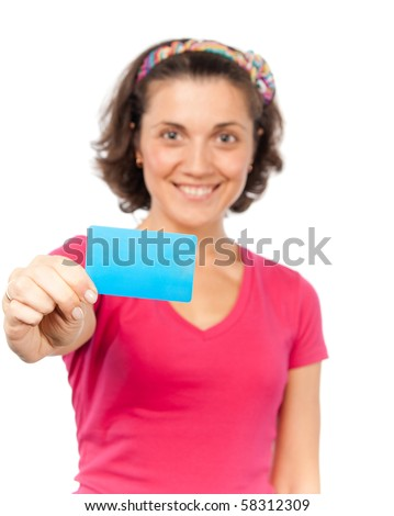 Pretty girl shows a credit card