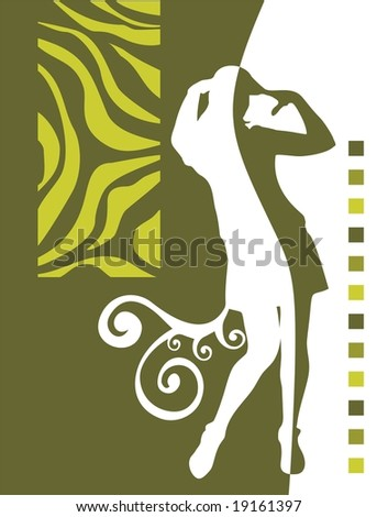 Pretty girl silhouette on a green decorative  background.